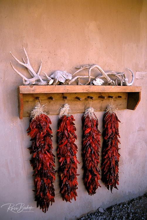 Antlers and chili ristras at the Martinez Hacienda (circa 1804), Taos, New Mexico