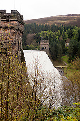 Derwent Dam in the Peak National Park overflows as part of of Britain still have a hosepipe ban in place despite the possibility that April 2012 could be the wettest in 250 years..27 April 2012 .Image © Paul David Drabble