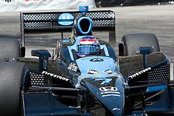 LONG BEACH, CA - APR 19: Indycar Driver Danica Patrick at turn 11 drives the #7 Motorola Andretti Green Racing Dallara Honda practice run. Photo by Eduardo E. Silva