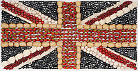 Union Jack made from Fruit and veg for life size use on marketing stand at international food packaging trade show in Germany.<br /> <br /> Food photographer, Manchester, Birmingham, Liverpool.
