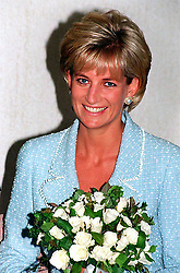 """Embargoed to 0001 Monday August 21 File photo dated 21/4/97 of Diana, Princess of Wales, whose warmth, compassion and empathy for those she met earned her the description the """"people's princess""""."""