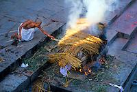 Cremation ceremony, Pashupatinath (hindu) Temple, Bagmati River, Kathmandu, Nepal