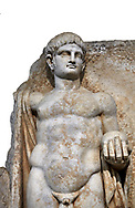 Detail of a Roman Sebasteion relief  sculpture of Emperor Nero with captive, Aphrodisias Museum, Aphrodisias, Turkey.   Against a white background.<br /> <br /> Naked warrior emperor Nero holds the orb of world rule in one hand and crowns the military trophy with the other. Between the trophy and the emperor stands a bound captive boy. He wears long barbarian trousers and looks up at Nero. .<br /> <br /> If you prefer to buy from our ALAMY STOCK LIBRARY page at https://www.alamy.com/portfolio/paul-williams-funkystock/greco-roman-sculptures.html . Type -    Aphrodisias     - into LOWER SEARCH WITHIN GALLERY box - Refine search by adding a subject, place, background colour, museum etc.<br /> <br /> Visit our ROMAN WORLD PHOTO COLLECTIONS for more photos to download or buy as wall art prints https://funkystock.photoshelter.com/gallery-collection/The-Romans-Art-Artefacts-Antiquities-Historic-Sites-Pictures-Images/C0000r2uLJJo9_s0