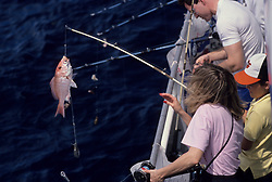 Stock photo of a child reeling in a fish caught from the side of a large fishing boat