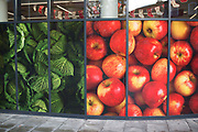 Large scale pictures of fresh fruit and vegetables outside a supermarket in London, England, United Kingdom. Apples and cabbages are represented to entice in custom with their fresh look. (photo by Mike Kemp/In Pictures via Getty Images)