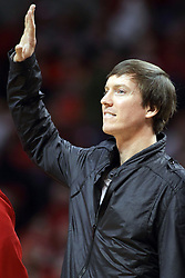 17 January 2015:   Former Redbird Brett Gillan during an NCAA MVC (Missouri Valley Conference men's basketball game between the Bradley Braves and the Illinois State Redbirds at Redbird Arena in Normal Illinois