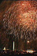 The Fireworks over the  Memorial Bridge on a celebration the night before the Inauguration of William Jefferson Clinton. January 19, 1993<br />Photo by Dennis Brack