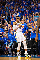 OKLAHOMA CITY, OK - APRIL 21: Russell Westbrook #0 of the Oklahoma City Thunder celebrates after making a three point shot during a game against the Portland Trail Blazers during Round One Game Three of the 2019 NBA Playoffs on April 21, 2019 at Chesapeake Energy Arena in Oklahoma City, Oklahoma  NOTE TO USER: User expressly acknowledges and agrees that, by downloading and or using this photograph, User is consenting to the terms and conditions of the Getty Images License Agreement.  The Trail Blazers defeated the Thunder 111-98.  (Photo by Wesley Hitt/Getty Images) *** Local Caption *** Russell Westbrook