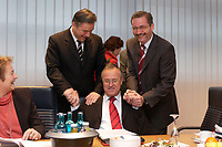 10 NOV 2003, BERLIN/GERMANY:<br /> Klaus Wowereit (L), SPD, Reg. Buergermeister Berlin, Hans Eichel (M), SPD, Bundesfinanzminister, Matthias Platzeck (R), Ministerpraesident Brandenburg, schuetteln sich die Haende, vor Beginn einer Sitzung des SPD Praesidiums, Willy-Brandt-Haus<br /> IMAGE: 20031110-01-007<br /> KEYWORDS: Präsidium, Spass,