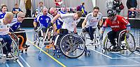 BREDA - Paragames 2011 Breda, Patrick van Eeden (m) zaterdag tijdens  de interland Nederland-Duitsland  bij het 4-landentoernooi Wheelchair Floorball Hockey, het  Nederlands handvoortbewogen rolstoelhockeyteam.  ANP COPYRIGHT KOEN SUYK