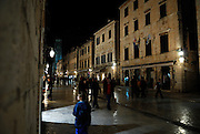 Stradun (Placa), main street of Dubrovnik old town, at night. Dubrovnik old town, Croatia