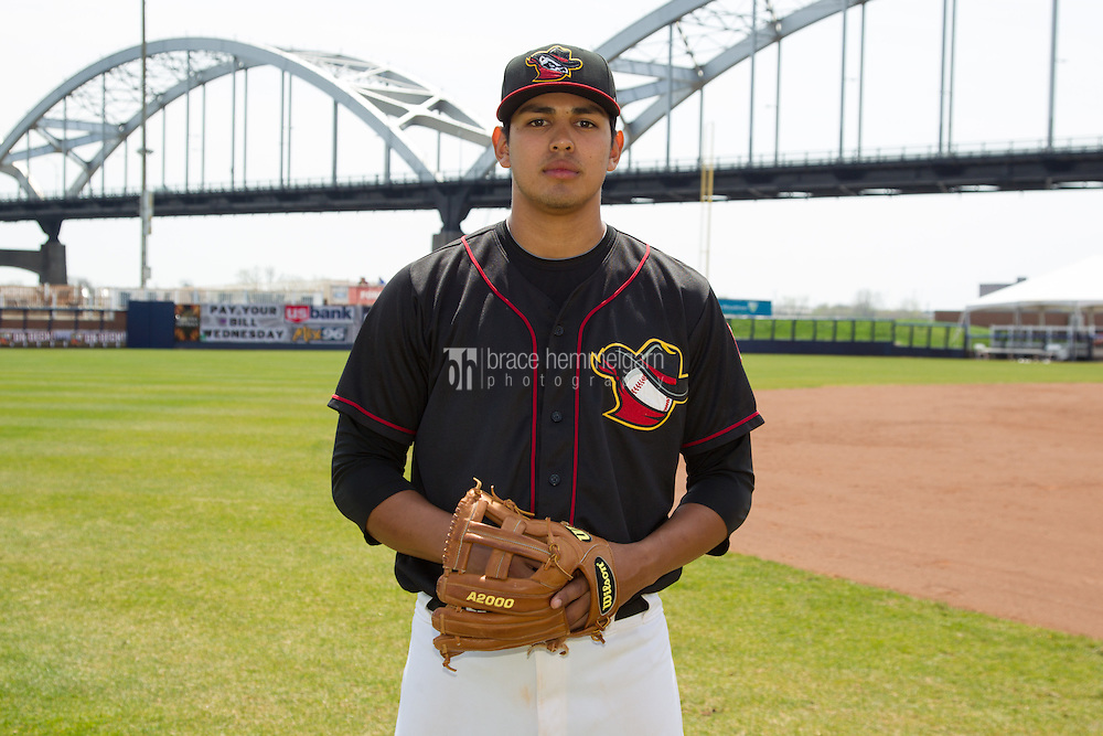 Quad Cities River Bandits third baseman Rio Ruiz #8 poses for a photo following a game against the Great Lakes Loons at Modern Woodmen Park on April 29, 2013 in Davenport, Iowa. (Brace Hemmelgarn)