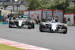 26.07.2015, Hungaroring, Budapest, HUN, FIA, Formel 1, Grand Prix von Ungarn, das Rennen, im Bild Lewis Hamilton (Mercedes AMG Petronas Formula One Team) im Zweikampf mit Felipe Massa (Williams F1 Team/Mercedes) // during the race of the Hungarian Formula One Grand Prix at the Hungaroring in Budapest, Hungary on 2015/07/26. EXPA Pictures © 2015, PhotoCredit: EXPA/ Eibner-Pressefoto/ Bermel<br /> <br /> *****ATTENTION - OUT of GER*****