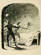 Death of Viviana From the book ' Guy Fawkes; or, The gunpowder treason. An historical romance ' by William Harrison Ainsworth, with illustrations on steel by  George Cruikshank. Published in London, by George Routledge and sons, limited in 1841. Guy Fawkes (13 April 1570 – 31 January 1606), also known as Guido Fawkes while fighting for the Spanish, was a member of a group of provincial English Catholics who was involved in the failed Gunpowder Plot of 1605. He was born and educated in York; his father died when Fawkes was eight years old, after which his mother married a recusant Catholic.