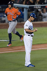 November 1, 2017 - Los Angeles, CA, USA - The Los Angeles Dodgers' Yu Darvish stares at the ball after giving a two-run home run to the Houston Astros' George Springer during Game 7 of the World Series at Dodger Stadium in Los Angeles, CA on Wednesday, November 1, 2017. (Credit Image: © Kevin Sullivan/Los Angeles Daily News via ZUMA Wire)
