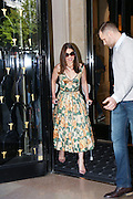 EMILIA CLARKE LEAVES HOTEL GEORGE V AFTER INTERVIEW FOR TERMINATOR GENISYS<br /> ©Exclusivepix Media