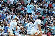 Dave Dennis wins a lineout. Waratahs v Force. 2013 Investec Super Rugby Season. Allianz Stadium, Sydney. Sunday 31 March 2013. Photo: Clay Cross / photosport.co.nz