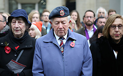 Members of the public look on as they observe a two minute silence during the Western Front Association's annual service of remembrance at the Cenotaph, Whitehall, London.