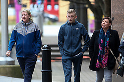 © Licensed to London News Pictures. 17/02/2017. Sheffield, UK. Family members and supporters of murdered Leonne Weeks arrive at Sheffield Crown Court this afternoon. 18-year-old Shea Peter Heeley is due to appear at Sheffield Crown Court today charged with the murder of Leonne Weeks. The body of 16-year-old Leonne was found with multiple stab wounds in the Dinnington area of South Yorkshire last month.  Photo credit : Ian Hinchliffe/LNP