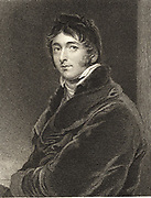 William Lamb, Viscount Melbourne (1779-1849) English statesman.  Queen Victoria's first Prime Minister. Husband of Caroline Lamb. Engraving after the portrait by Thomas Lawrence.