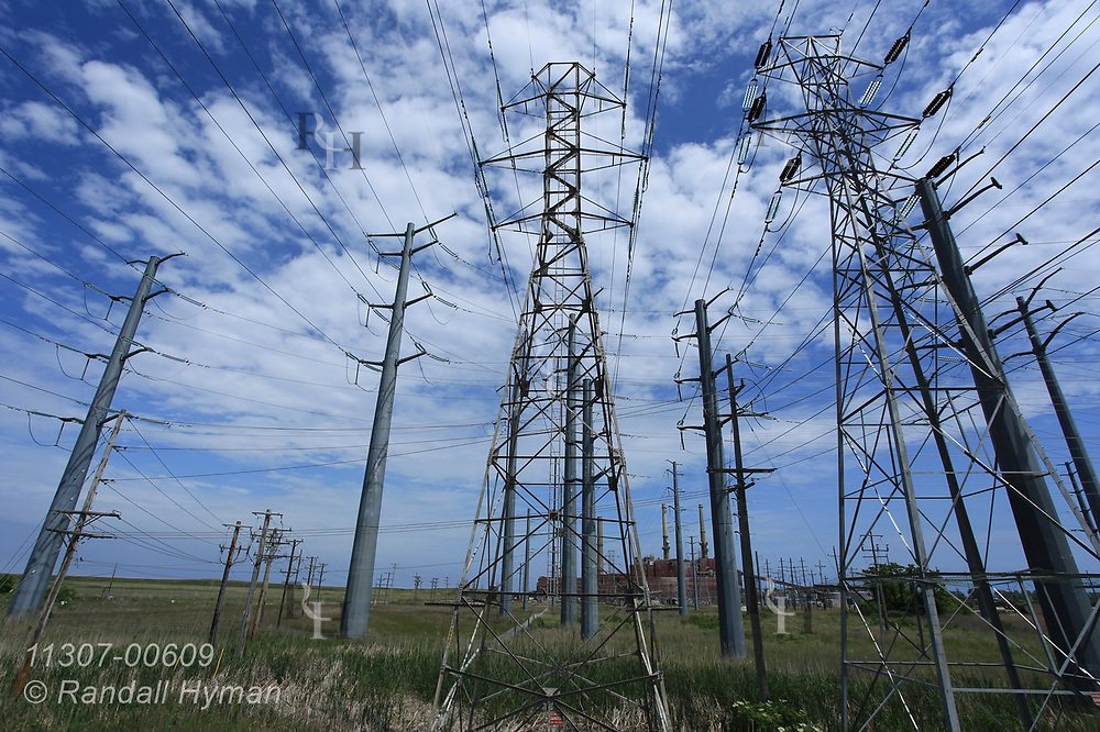 High-voltage power lines emanate from coal-fired NRG Waukegan Generating Station, due to be closed in June 2022; Waukegan, Illinois.