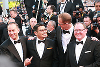 Producer Jonas Rivera, Ronaldo Del Carmen, Director Pete Docter and John Lasseter at the gala screening for the film Inside Out at the 68th Cannes Film Festival, Monday May 18th 2015, Cannes, France