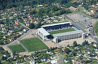 Nye Odd Stadion på Falkum i Skien. Skagerak Arena bygget i 2007. Hjemmebanen til Odd Grenland.<br /> Flyfoto / Arena / Aerial Photo Skien, 29. juli 2008.<br /> Foto: Peter Tubaas/Digitalsport