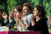 16 NOV 2019, BIELEFELD/GERMANY:<br /> Robert Habeck (L), B90/Gruene, Bundesvorsitzender, Annalena Baerbock (R), B90/Gruene, Bundesvorsitzende, Bundesdelegiertenkonferenz Buendnis 90 / Die Gruenen, Stadthalle<br /> IMAGE: 20191116-01-077<br /> KEYWORDS: Parteitag, Bundesparteitag, Party congress, BDK; Die Grünen