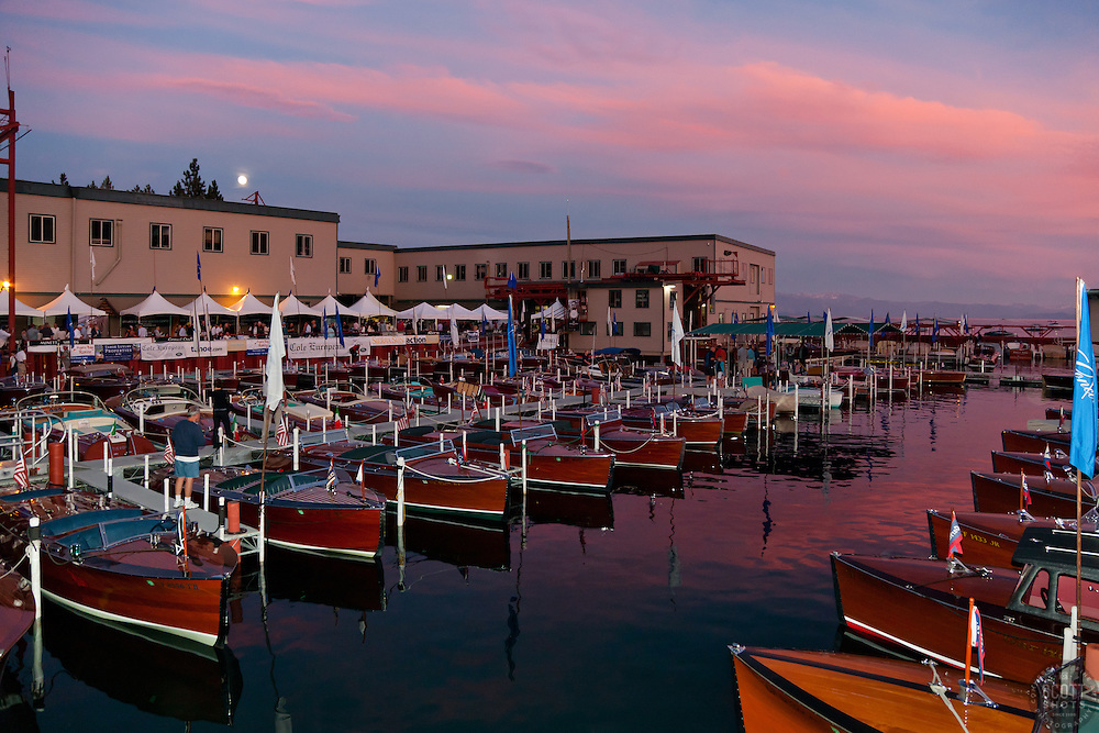 """""""Tahoe Concours d'Elegance Sunset 1"""" - Photograph of classic wooden boats from the 2011 Tahoe Concours d'Elegance at sunset."""