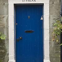 Blue cottage door, Gilmerton, Perthshire, Scotland<br />