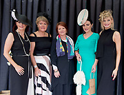 17/08/2017 Mandy Maher, Catwalk models, Tina Staunton runner up , Triona Sweeney from Millars and Winner of the best dressed competition Leanne O'Malley from Maam and Guest judge Katie Geoghegan at the Connemara Pony Show in Clifden. Photo:Andrew Downes, xposure
