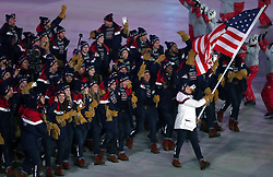 United States flag-bearer Erin Hamlin during the Opening Ceremony of the PyeongChang 2018 Winter Olympic Games at the PyeongChang Olympic Stadium in South Korea.