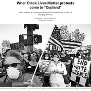 Photo essay on Black Lives Matter protests finding a home in white, suburban, conservative communities. Published by Vox on July 9, 2020.