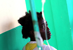 October 9, 2016 - HTI - Nolan Hyppolite, 24, seeks help at a Cholera clinic at Port Salut Hospital HCR on Sunday, Oct. 9, 2016 in Haiti. (Credit Image: © Patrick Farrell/TNS via ZUMA Wire)
