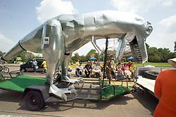 Stock photo of a giant metal dinosaur