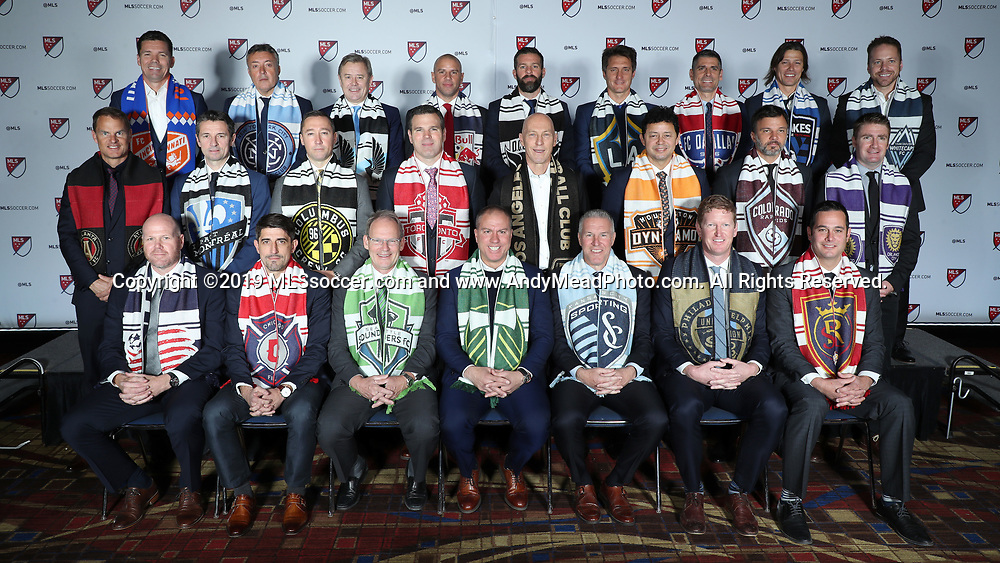 CHICAGO, IL - JANUARY 11: Major League Soccer's head coaches posed for a group photo before the draft. Front row (from left): Brad Friedel (New England Revolution), Veljko Paunovic (Chicago Fire), Brian Schmetzer (Seattle Sounders FC), Giovanni Savarese (Portland Timbers), Peter Vermes (Sporting Kansas City), Jim Curtin (Philadelphia Union), Mike Petke (Real Salt Lake); Middle row (from left): Frank de Boer (Atlanta United FC), Remi Garde (Montreal Impact), Caleb Porter (Columbus Crew SC), Greg Vanney (Toronto FC), Bob Bradley (Los Angeles FC), Wilmer Cabrera (Houston Dynamo), Anthony Hudson (Colorado Rapids), James O'Connor (Orlando City SC); Back row (from left): Alan Koch (FC Cincinnati), Domenec Torrent (New York City FC), Adrian Heath (Minnesota United FC), Chris Armas (New York Red Bulls), Ben Olsen (DC United), Guillermo Barros Schelotto (Los Angeles Galaxy), Luchi Gonzalez (FC Dallas), Matias Almeyda (San Jose Earthquakes), Marc Dos Santos (Vancouver Whitecaps FC). The MLS SuperDraft 2019 presented by adidas was held on January 11, 2019 at McCormick Place in Chicago, IL.
