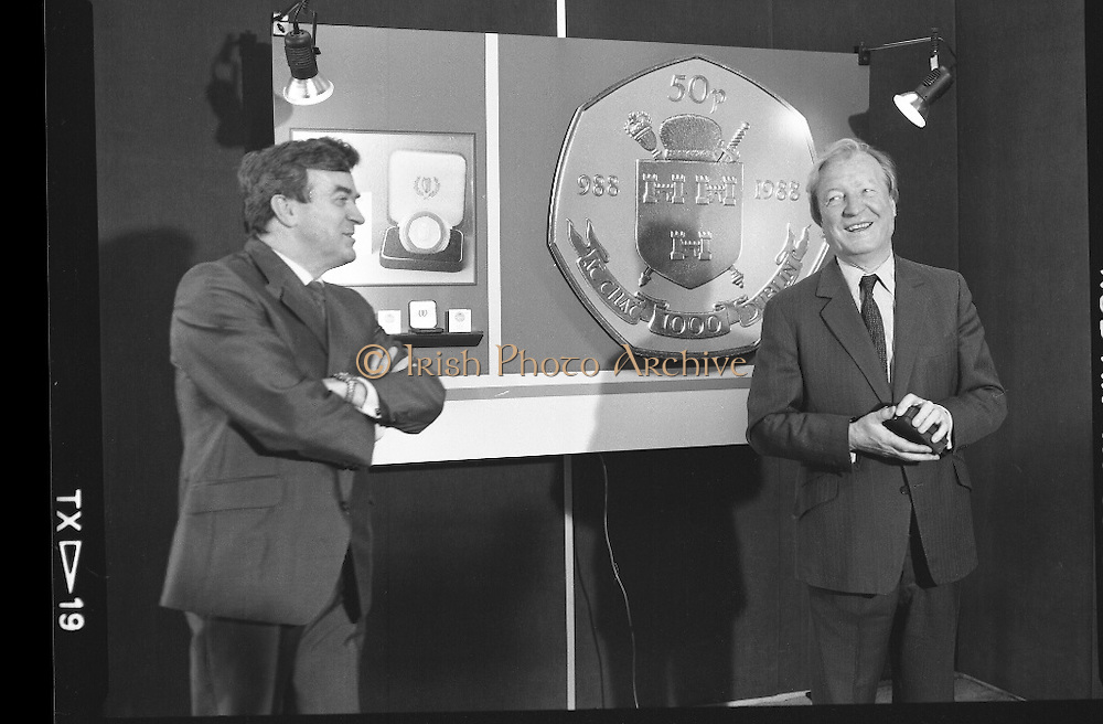 First Millennium 50p Coin.   (R80)..1988..31.06.1988..06.31.1988..31st June 1988..The Governor of the Central Bank of Ireland, Mr Maurice F Doyle, presented the first of a limited issue of proof 50p coins commemorating the Dublin Millennium to An Taoiseach, Charles Haughey TD, this morning. Only 50,000 of these frosted proof coins will be issued for worldwide distribution...Image shows An Taoiseach, Charles Haughey TD, giving a speech after being presented with the first of the new 50p coins by Mr Maurice Doyle, Governor, Central bank of Ireland.