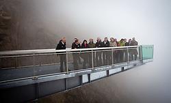 18.06.2011, Kitzsteinhorn, Kaprun, AUT, AUT, GIPFELWELT 3000, KITZSTEINHORN, ERÖFFNUNG, im Bild Peter Präauer (Direktor Gletscherbahnen Kaprun), Landeshauptfrau von Salzburg, Gabi Burgstaller (SPOE), Landeshauptmann STV. von Salzburg, Dr. Wilfried Haslauer (OEVP), Bürgermeister von Kaprun Norbert Karlsböck (SPOE und Direktor der Gletscherbahnen Kaprun), Bürgermeister von Niedernsill Günther Brennsteiner (OEVP und Prokurist der Gletscherbahnen Kaprun), Direktor des Hauses der Natur Norbert Winding umringt von Vertretern aus Politik und Wirtschaft auf der Aussichtsplatform während der Eröffnung der Gipfelwelt 3000 am Gletscher Kitzsteinhorn bei Kaprun, Salzburgerland, Österreich, EXPA Pictures © 2011, PhotoCredit: EXPA/ J. Feichter., EXPA Pictures © 2011, PhotoCredit: EXPA/ J. Feichter