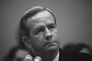 Robert McFarlane testifying in the House Iran Contra in December 1986..Photograph by Dennis Brack BB31