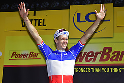 July 4, 2017 - Mondorf Les Bains / Vittel, Luxembourg / France - VITTEL, FRANCE - JULY 4 : DEMARE Arnaud (FRA) Rider of FDJ pictured during the podium ceremony after winning  stage 4 of the 104th edition of the 2017 Tour de France cycling race, a stage of 207.5 kms between Mondorf-Les-Bains and Vittel on July 04, 2017 in Vittel, France, 4/07/2017 (Credit Image: © Panoramic via ZUMA Press)