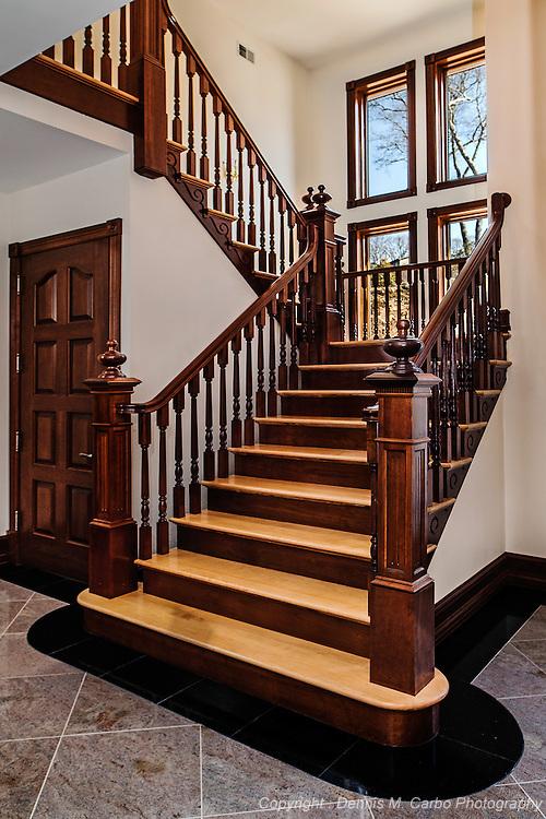 Custom Mahogany and Oak Staircase