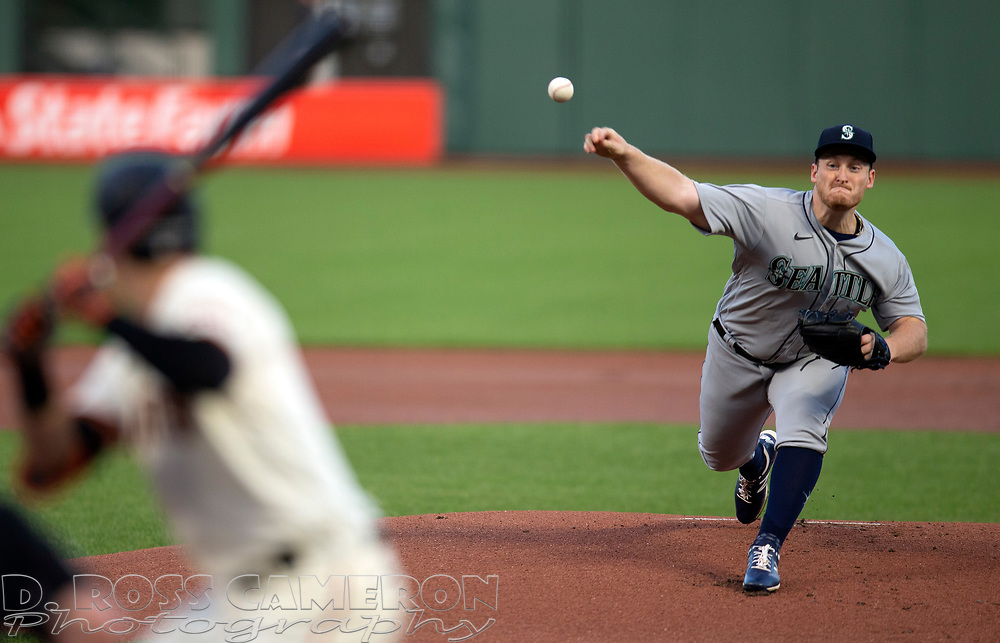 Sep 16, 2020; San Francisco, CA, USA; Seattle Mariners starting pitcher Ljay Newsome (74) delivers a pitch against the San Francisco Giants during the first inning of a baseball game at Oracle Park. Mandatory Credit: D. Ross Cameron-USA TODAY Sports