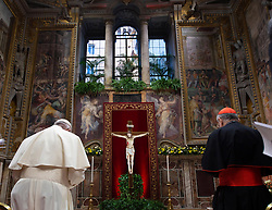 Pope Francis, flanked by bishops and cardinals, attends a Penitential Liturgy at the Regia Hall at the Apostolic Palace, Vatican at the end of 'The Protection Of Minors In The Church' meeting on February 23, 2019 . It is a global child protection summit for reflections on the sex abuse and paedophilia crisis within the Catholic Church. Photo by ABACAPRESS.COM