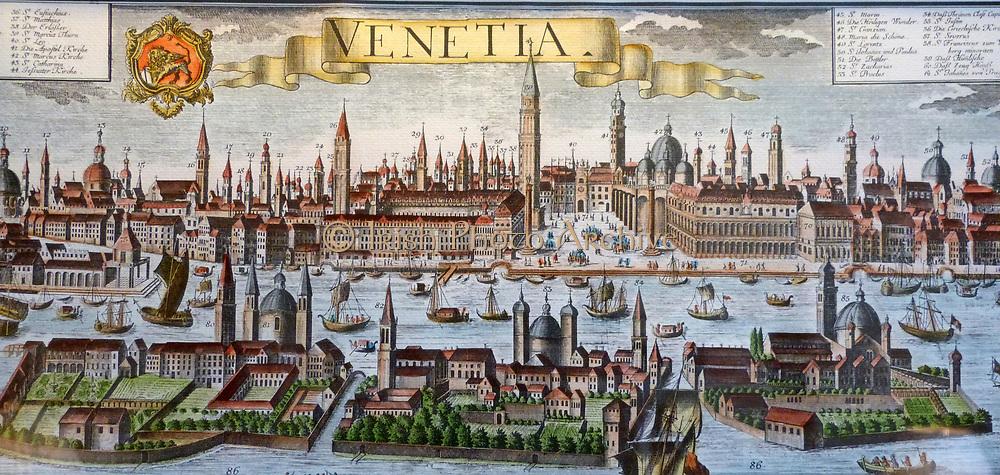 18th Century Colour Map of Vencice 1750.