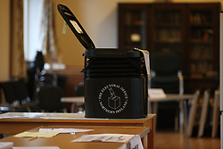 An open ballot box as staff prepare to open the Polling Station in South Belfast at St. Nicolas Parish Hall, Belfast, as voting gets underway in the 2017 General Election.