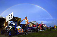 KEVIN BARTRAM/The Daily News<br /> Kyle Thomas of Alvin makes some last-minutes adjustments to his car in the pits before a Saturday night race in Alvin.