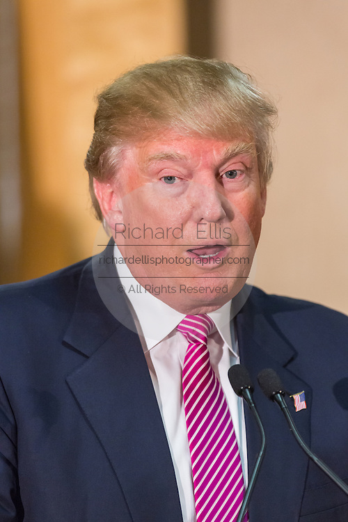 Republican presidential candidate billionaire Donald Trump during a press conference February 15, 2016 in Hanahan, South Carolina.