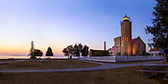 The Old Mackinac Point Lighthouse and the Straits of Mackinac In early morning just before sunrise, Michigan, Lower Peninsula, USA, The light is never actually lit - Photoshop Simulation
