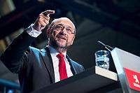 22 MAR 2017, BERLIN/GERMANY:<br /> Martin Schulz, SPD Parteivorsitzender und Spitzenkandidat der SPD zur Bundestagswahl, haelt eine Rede auf dem Neumitgliedertreffen der Berliner SPD, Festsaal Kreuzberg<br /> IMAGE: 20170322-02-124<br /> KEYWORDS: Martin Schulz, speech, Kanzlerkandidat, candidate