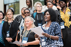 """8 March 2018, Arusha, Tanzania: Women's witness. Dr Agnes Abuom reads a message from the women of the Conference of World Mission and Evangelism. From 8-13 March 2018, the World Council of Churches organizes the Conference on World Mission and Evangelism in Arusha, Tanzania. The conference is themed """"Moving in the Spirit: Called to Transforming Discipleship"""", and is part of a long tradition of similar conferences, organized every decade."""